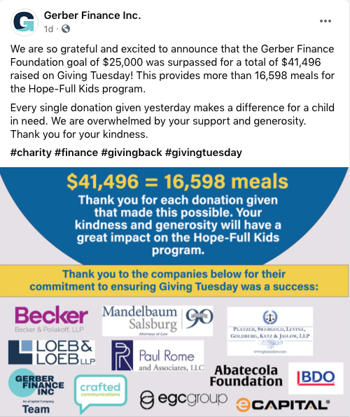 Gerber Finance Giving Tuesday