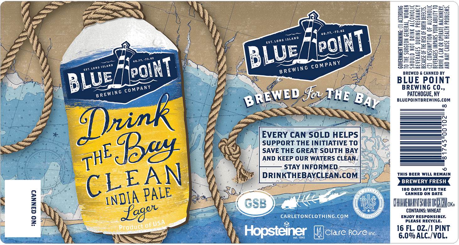 Blue Point Brewing Company - Drink the Bay Clean label