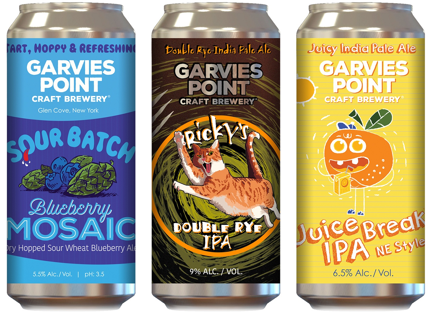 EGC designed Garvies Point's steadily-growing line of hyper-fresh canned beers with fun, unique-looking packaging for a bold shelf presence.