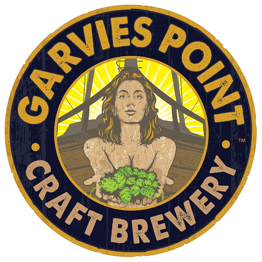 The illustration was used as the centerpiece of the Garvies Point Brewery logo.