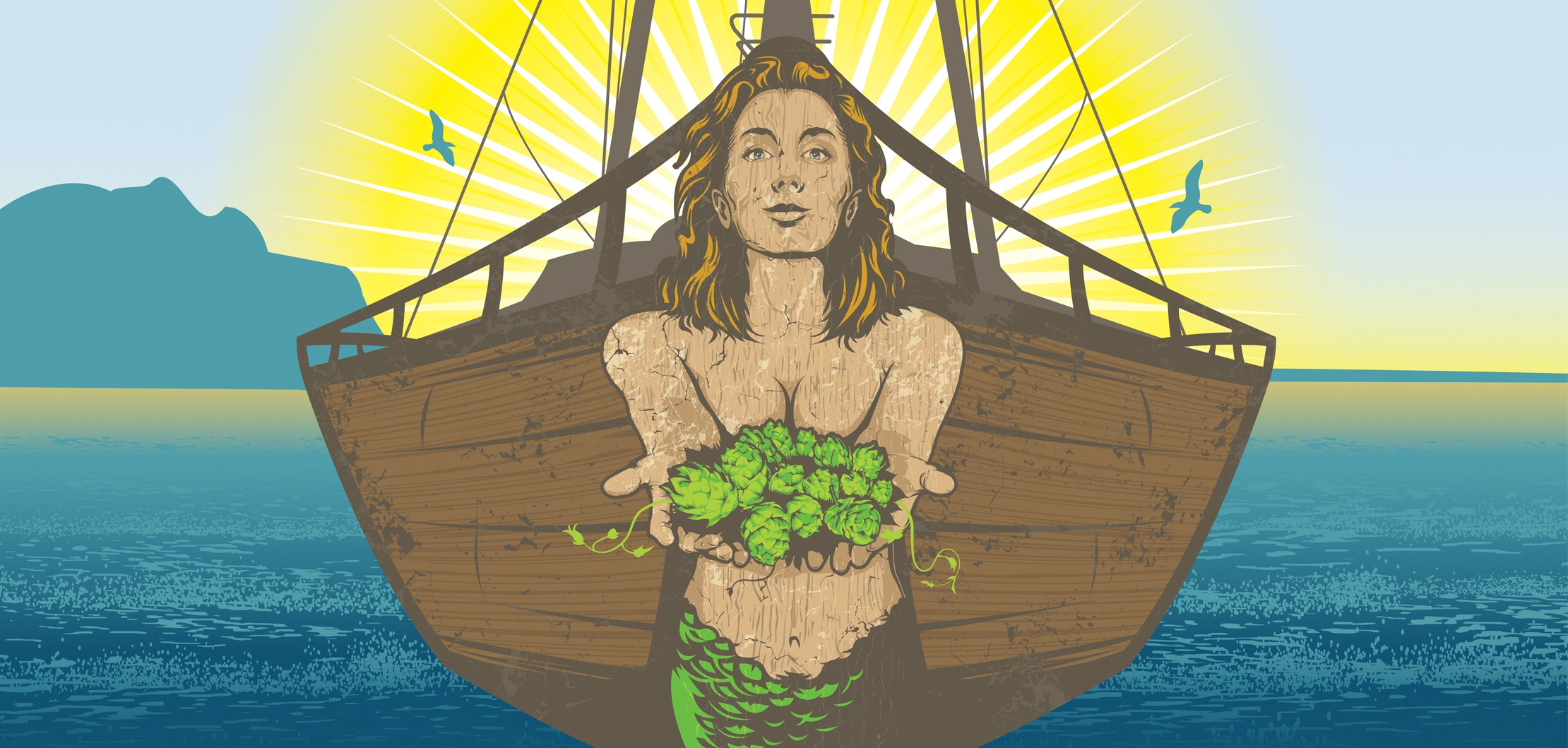 """EGC first established Garvies Point Brewery's brand identity with a sexy, hand-illustrated, """"Hops Mermaid Goddess"""" ship figurehead."""