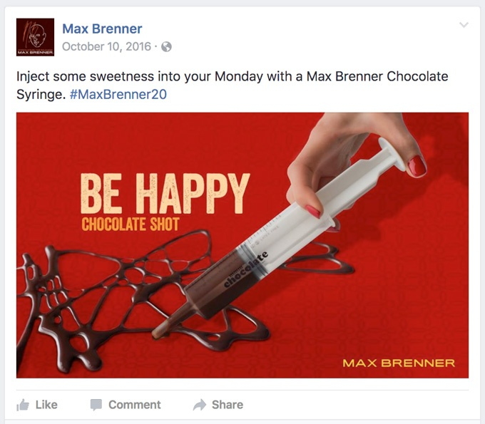 Inject some sweetness into your Monday with a Max Brenner Chocolate Syringe.