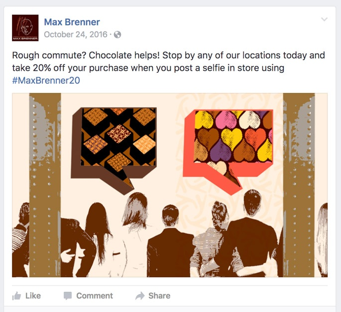 Rough Commute? Chocolate helps! Stop by any of our locations today and take 20% off your purchase when you post a selfie in store